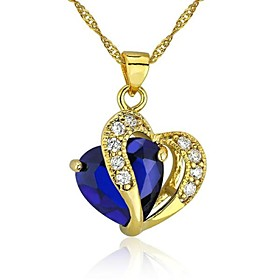 Heart Jewelry for Women 24K Gold Plated CZ Pendant Necklace With Chain promo code 2016