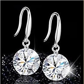 Fashion Silver Zircon Crysta Drop Earrings 1706170