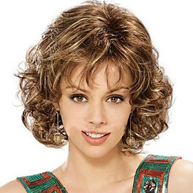 Fashion Lady Short Brown Blonde Mixed Curly Cosplay Full Wigs 1708876
