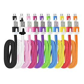 Flat Noodle Micro USB Charge Cable for Samsung Galaxy S4/S3/S2 and HTC/Sony/LG/Nokia(200cm Length)