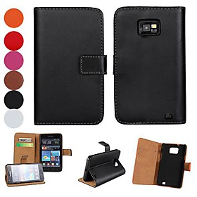 Light Surface PU Leather Full Body Case with Stand and Card Slot for Samsung Galaxy S2 i9100 (Assorted Colors)