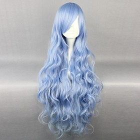 Cosplay Wigs Date A Live Yoshino Blue Long / Curly Anime Cosplay Wigs 90 CM Heat Resistant Fiber Female 1560555