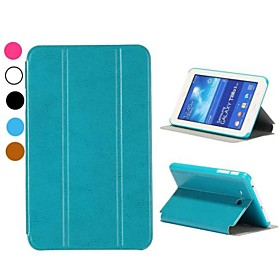 Crazy Horse Tri-fold Stand Auto Sleep/Wake UP Leather Flip Case for Samsung Galaxy Tab 3 Lite T110/T111(Assorted Colors)
