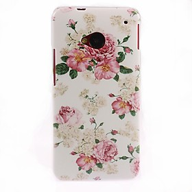 Elegant Flower Pattern Hard Case for HTC One M7 1880494