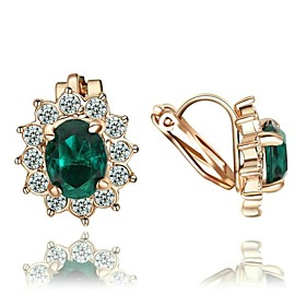 Women's Crystal Drop Earrings Clip on Earring Crystal Gold Plated Imitation Diamond Earrings Jewelry Red / Green / Blue For Wedding Party Daily Casual 1pc