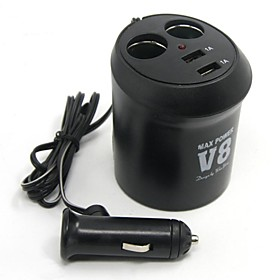 Tirol New 12V 2-Way Cup Holder Auto Adapter With 2Usb  Car Charger 5V/2A Splitter Power 2044415