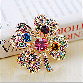 Women's Brooches Crystal Cubic Zirconia Ladies Party Fashion Brooch Jewelry White Rainbow For Wedding Party Special Occasion Anniversary Birthday Gift