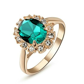 Women's Synthetic Emerald Crystal Gold Plated Imitation Diamond Statement Ring - Classic Red Green Blue Ring For Wedding Party Daily 1964325