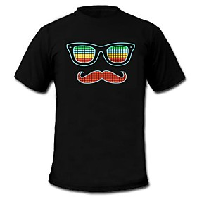 Mens Light Up LED T-shirt glasses beard pattern Sound and Music Activated Equalizer for Party Bar Raver 1922069
