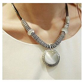 Women's Synthetic Opal Cat's Eye Pendant Necklace Statement Necklace Leather Opal Ladies Simple Style Fashion White Necklace Jewelry 1pc For Wedding Party Dail