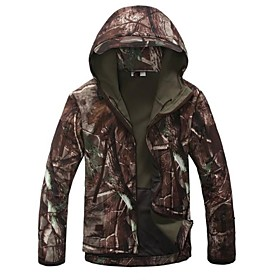 Esdy Men's Softshell Jacket Outdoor Hunting Camping Waterproof Trees Camouflage Coats Hoodie 2019337