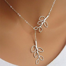 Women's Pendant Necklace - Silver Plated Leaf Simple Style, Fashion, Long Adjustable Silver Necklace Jewelry For Birthday, Business, Gift