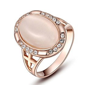 Women's Crystal Statement Ring Crystal Gold Plated Opal Ladies Personalized Ring Jewelry For Wedding Party Daily Casual 6 / 7 / 8 / Imitation Diamond / Cubic Z