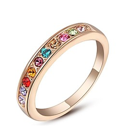Women's Band Ring Crystal Gold Plated Fashion Ring Jewelry For Wedding Party Daily Casual 6 / 7 / 8 / 9 / Cubic Zirconia