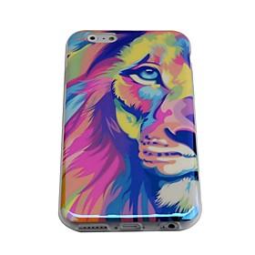 lureme Mode halbe Gesicht Löwen blu ray Druck Silikon Tasche für iPhone 6 2212270