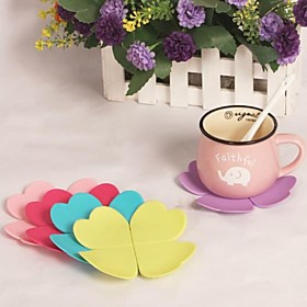 "Leaves Silicone Cup Mat Heat Resistant to High Temperature Prevent Slippery 4""""x4""""x0.1""""(Color Random)"" 2070741"