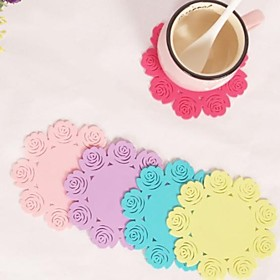 "Rose Shaped Silicone Cup Mat Heat Resistant to High Temperature Prevent Slippery 4""""x4""""x0.1""""(Color Random)"" 2070736"