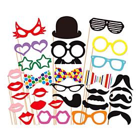 31 PCS Card Paper Photo Booth Props Party Fun Favor(Glasses  Hat  Mustache  Hat) 2163024