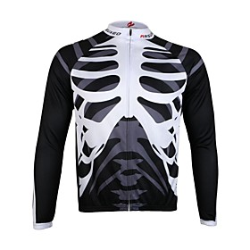 Arsuxeo Men's Full Zip Breathable Long Sleeve Cycling Jersey-Skull 2135997