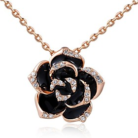 Women's Crystal Pendant Necklace Crystal Roses Flower Ladies Fashion Silver Golden Necklace Jewelry For Wedding Party Daily Casual