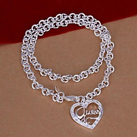 Heart-Shaped Letter Pendent 925 Silver Pendant Necklace (1Pc) 2142102