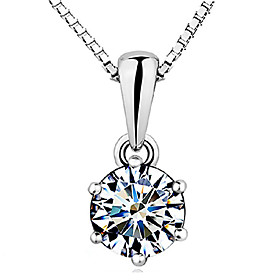 Women's Diamond Cubic Zirconia Pendant Necklace Sterling Silver Zircon Cubic Zirconia Crown Ladies Basic Elegant White Necklace Jewelry For Wedding Party Gift