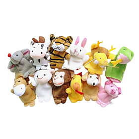 Finger Puppets Puppets Cute Lovely Novelty Cartoon Textile Plush Girls' Gift 12pcs 2101248