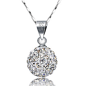 Women's Ball Pendant Necklace Sterling Silver Rhinestone Ball Ladies Basic Fashion Silver Necklace Jewelry For Wedding Daily Casual Masquerade Engagement Party