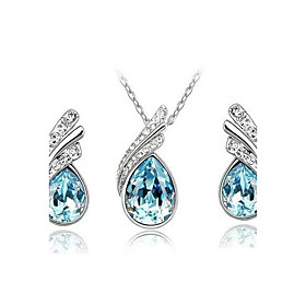 Women's Crystal Jewelry Set - Austria Crystal Drop Party, Casual, Basic Include Drop Earrings Pendant Necklace Pendant Red / Blue / Light Blue For Party Specia