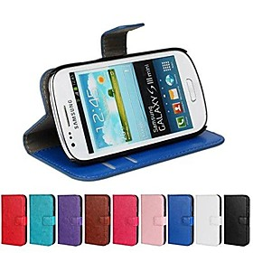 Crazy Horse Leather Wallet Flip Case with Card Holder And Stand Function for Samsung S3 Mini I8190N (Assorted Colors)
