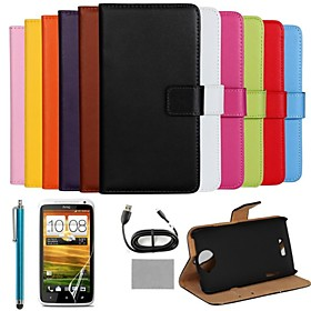 COCO FUN Luxury Ultra Slim Solid Color Genuine Leather Case with Screen Protector,Cable and Stylus for HTC One X