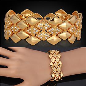 U7 Big Bracelets 18K Yellow Gold Plated Austrian SWA Rhinestone Fashion Jewelry Bangles Gift For Women/Men