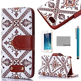 COCO FUN Retro Cell Pattern PU Leather Full Body Case with Film, Stand and Stylus for iPhone 5/5S discount price 2016