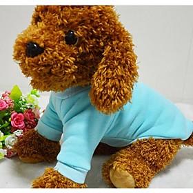 Dog Shirt / T-Shirt / Sweatshirt Red / Blue / Black / Pink Dog Clothes Winter / Spring/Fall Solid Cute 2309229