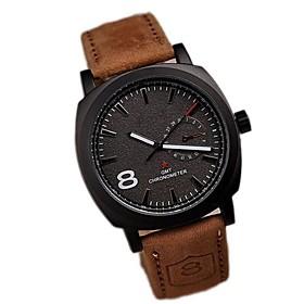 Men's Fashion Simple Upscale Business Affairs Quartz Watch Leather Band Wrist Watch