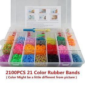 Rainbow Color Fashion Loom Kit for DIY Bracelet(2100PCS Bands4 Package Clips1 Loom Board3 Hook)