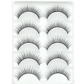 New 5 Pairs European Fiber Black Long Thick False Eyelashes Eyelash Eye Lashes for Eye Extensions 2338938