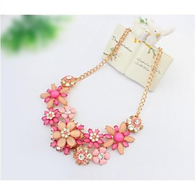 Women's Statement Necklace Flower Statement Ladies Floral Bohemian Fuchsia Light Blue Rainbow Necklace Jewelry For Wedding Party Special Occasion Birthday