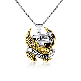 Fashion Jewelry Punk Eagle Stainless Steel Men's Pendant Necklace (1pc)