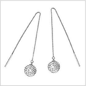 Women's Long Drop Earrings Sterling Silver Rhinestone Earrings stardust Ladies Jewelry Silver For Wedding Party Daily Casual
