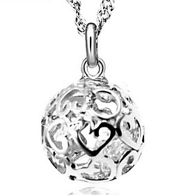 Women's Cubic Zirconia Ball Pendant Necklace Sterling Silver Cubic Zirconia Silver Ladies Fashion Silver Necklace Jewelry For Wedding Party Daily Casual