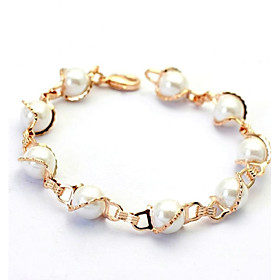 Women's Pearl Strand Bracelet - Pearl, Crystal, Imitation Pearl Simple Style Bracelet Silver / Golden For Wedding Party Daily / Gold Plated