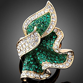 Women's Cluster Statement Ring - Rose Gold, Imitation Diamond, Alloy Dainty, Luxury, Fashion One Size Emerald / Fuchsia / Light Blue For Party