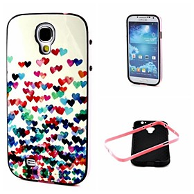 2-in-1 Many Colorful Heart Pattern TPU Back Cover with PC Bumper Shockproof Soft Case for Samsung Galaxy S4 I9500