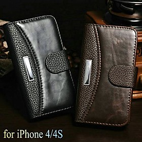 Crazy Horse Lichee Pattern Wallet Stand PU Leather Case for iPhone 4/4S (Assorted Colors)