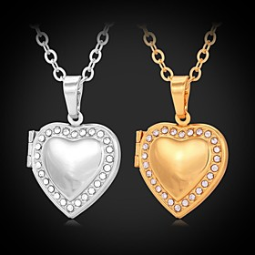 Women's Synthetic Diamond Choker Necklace / Pendant Necklace / Lockets Necklace - Rhinestone, Platinum Plated, Gold Plated Heart, Love Fashion Silver, Golden N