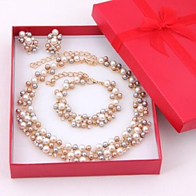 Women's Multicolor Pearl Jewelry Set Pearl, Rhinestone, Gold Plated Ladies, Elegant, Bridal Include Drop Earrings Bead Bracelet Pearl Necklace Golden For Weddi