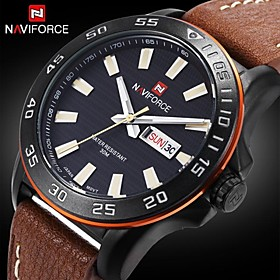 NAVIFORCE Men's Genuine Leather Japan Movement Fashion Wrist Watch Luminouse Hand Military Watches(Assorted Colors) Cool Watch Unique Watch 2668484
