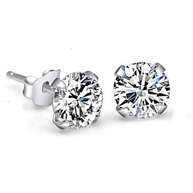 Women's Crystal Synthetic Diamond Stud Earrings - Sterling Silver, Crystal, Rhinestone Simple Style, Bridal White For Wedding Party Daily