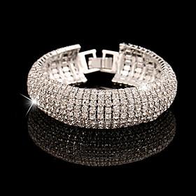Women's Layered Chain Bracelet - Cubic Zirconia, Rhinestone, Imitation Diamond Unique Design, Vintage, Party Bracelet Gold / Silver For Wedding Anniversary Gif